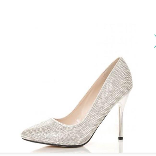 Quiz - Silver diamante court Shoe (Debenhams)