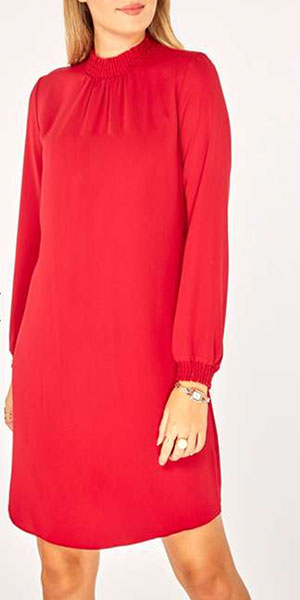 Red Shirred Neck Shift Dress from Dorothy Perkins