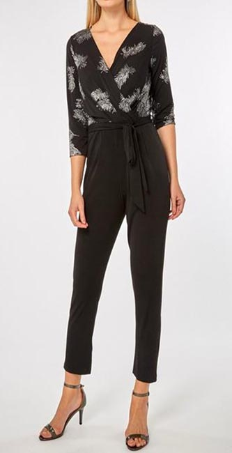 Billie & Blossom Black Feather Wrap Jumpsuit from Dorothy Perkins