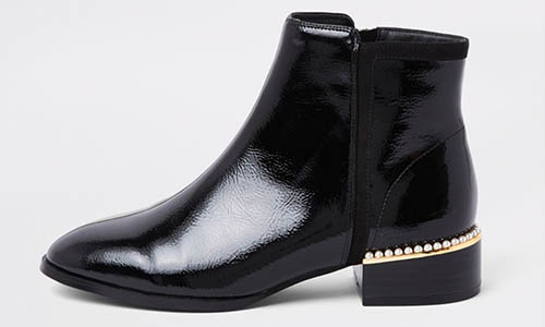 Black Patent Leather Pearl Trim Ankle Boots from River Island