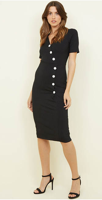 Black Ribbed Button Wrap Midi Dress from New Look