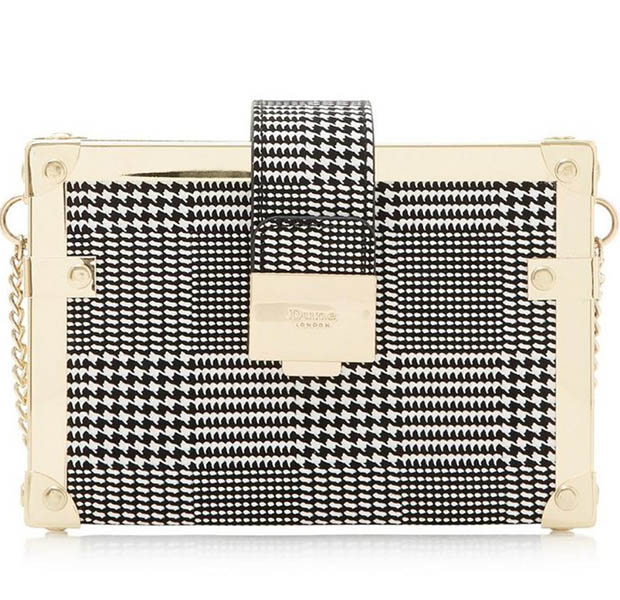 Black & white checked square clutch bag from Dune London