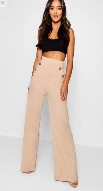 Petite Mock Horn Button Rib Wide Leg Trousers from Boohoo