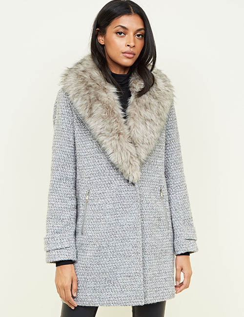 Grey Shawl Faux Fur Collar Coat from New Look