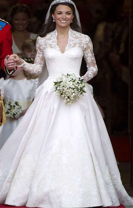 Kate Middleton's Wedding Dress custom-made lace and satin gown designed by Sarah Burton