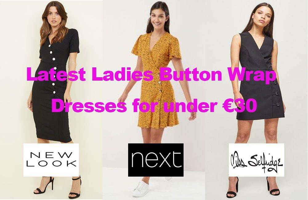 Latest Ladies Button Wrap Dresses for under €30