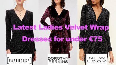 Latest Ladies Velvet Wrap Dresses for Under €75.00