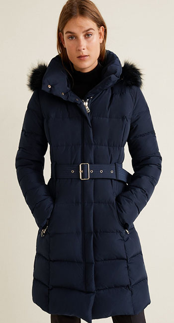 Latest fashion- Quilted Feather Coat from Mango
