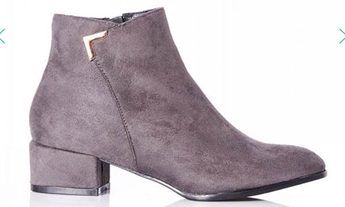 Quiz - Grey Faux Suede Ankle Boots from Debenhams