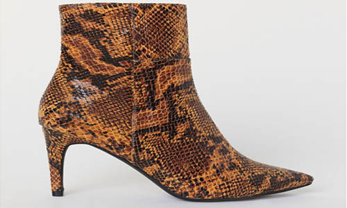 Snakeskin Patterned Ankle Boots from H&M