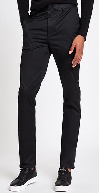 Black Slim Fit Chino Trousers from River Island