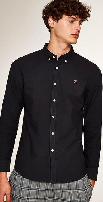 Farah Navy Brewer Long Sleeve Shirt from Topman
