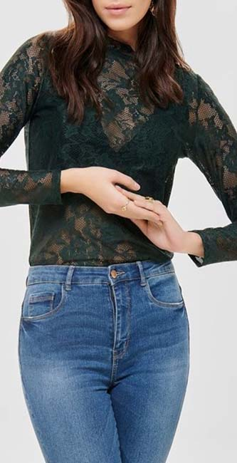 Lace Long Sleeve Top from Only