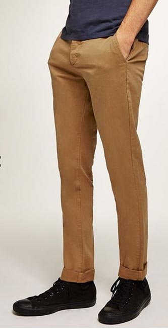 Men's Mustard Stretch Slim Chinos from Topman