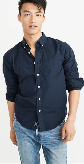 Navy Cotton Poplin Shirt from Abercrombie & Fitch