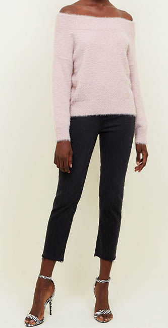 Pale Pink Fluffy Bardot Jumper from New Look