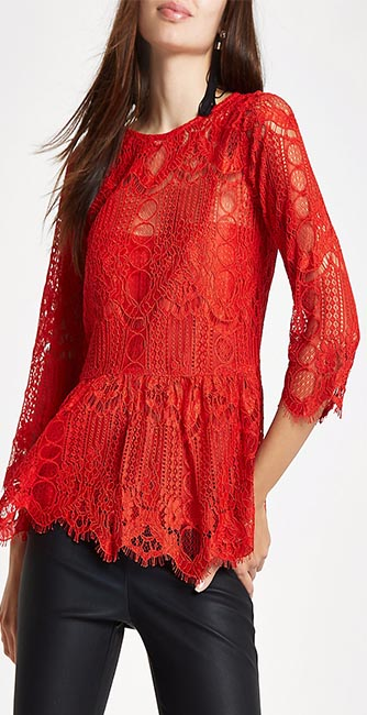 Red Lace Peplum Hem Lace Top from River Island