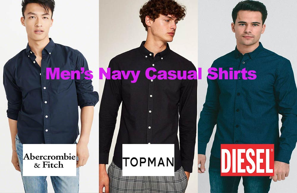 The latest in men's casual navy shirt design fashion