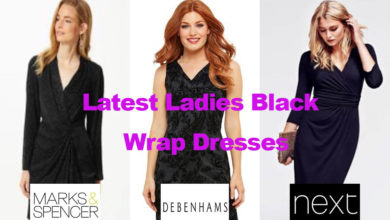 The latest ladies fashion in black wrap dresses