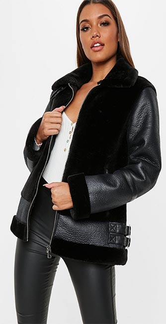 Front view of this tall black faux fur ultimate aviator jacket from Missguided