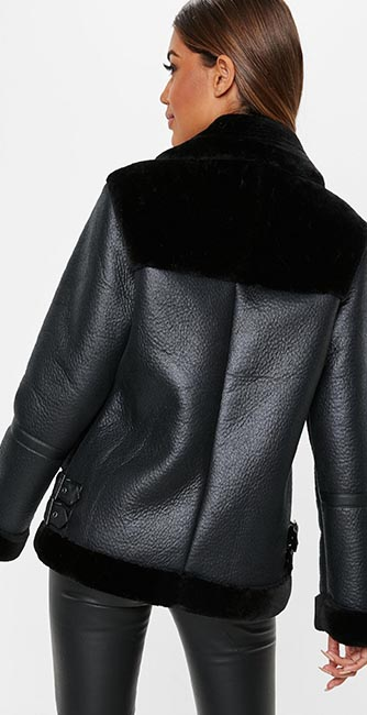 Rear view of this tall black faux fur ultimate aviator jacket from Missguided