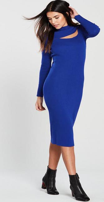 Front View Cobalt Blue Turtleneck Cut Out Knitted Midi Dress from Very