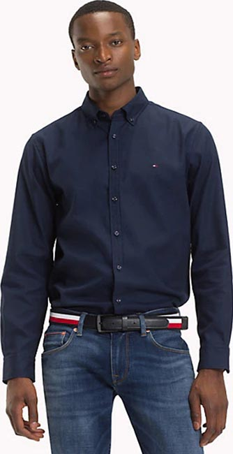 Front view button down collar shirt from Tommy Hilfiger