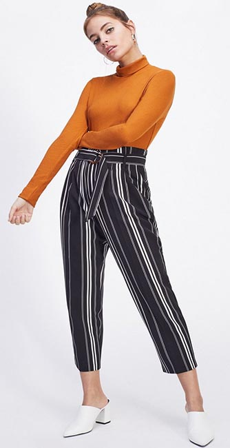 Front view of these Mono Striped Paperbag Trousers from Miss Selfridge