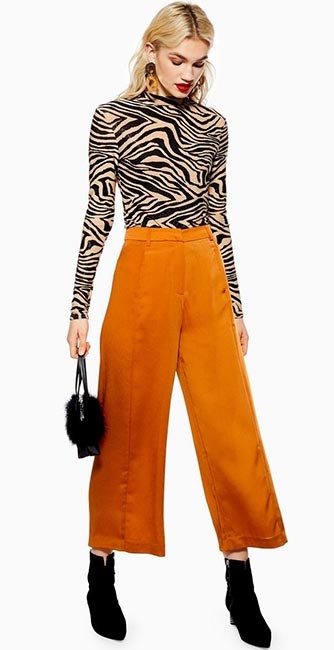 Front view of these wide trousers by Native Youth from Topshop