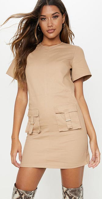 Front view of this Camel utility pocket shift dress from PrettyLittleThing