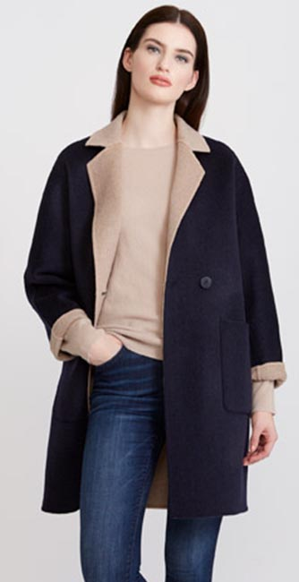 Front view of this Paul Costelloe Living Studio Contrast Collar Coat from Dunnes Stores