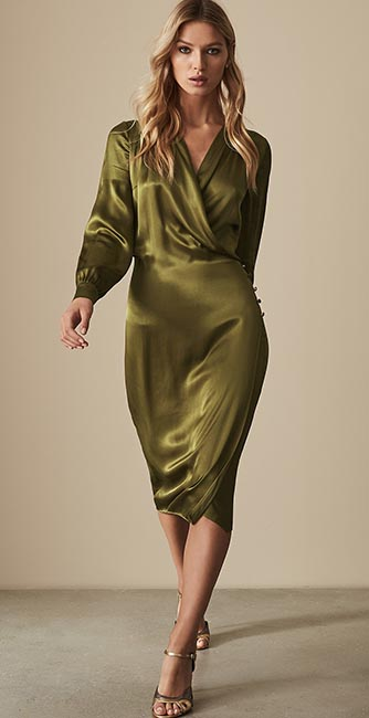Front view of this Renae Satin Wrap dress from Reiss
