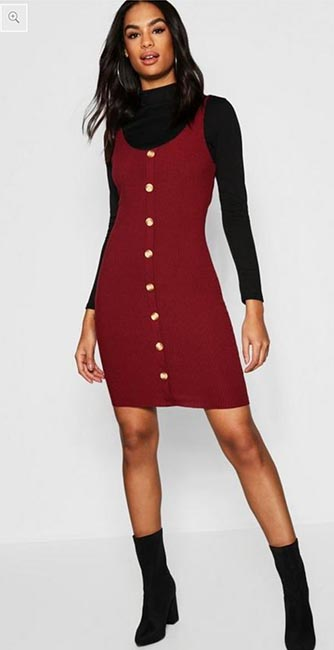 Front view of this Tall Tortoise Shell Button Micro Mini Dress from Boohoo