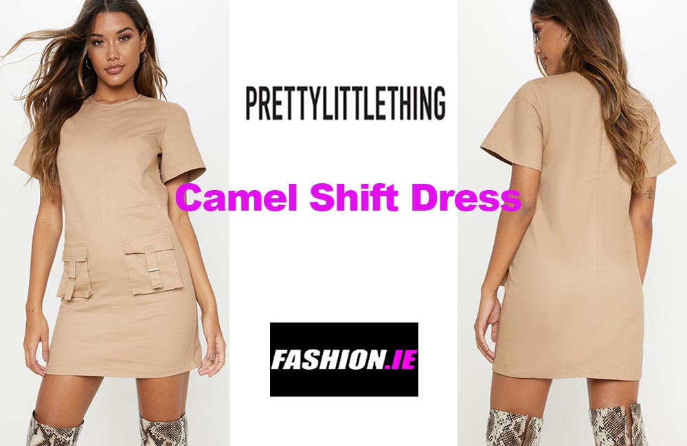 Latest fashion Camel shift dress from PrettyLittleThing