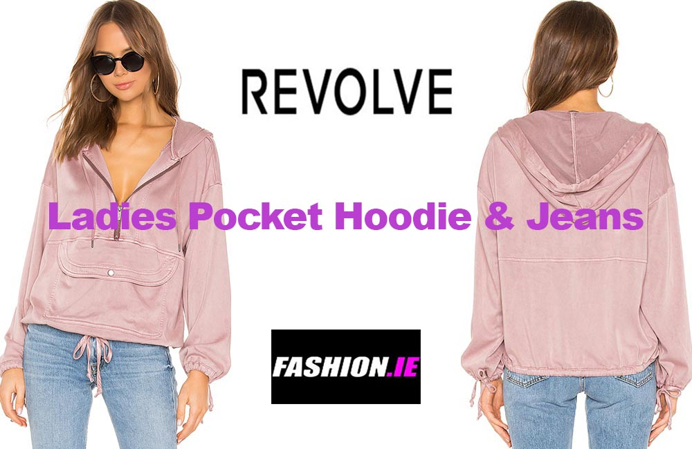 Latest fashion Pocket hoodie and jeans from Revolve