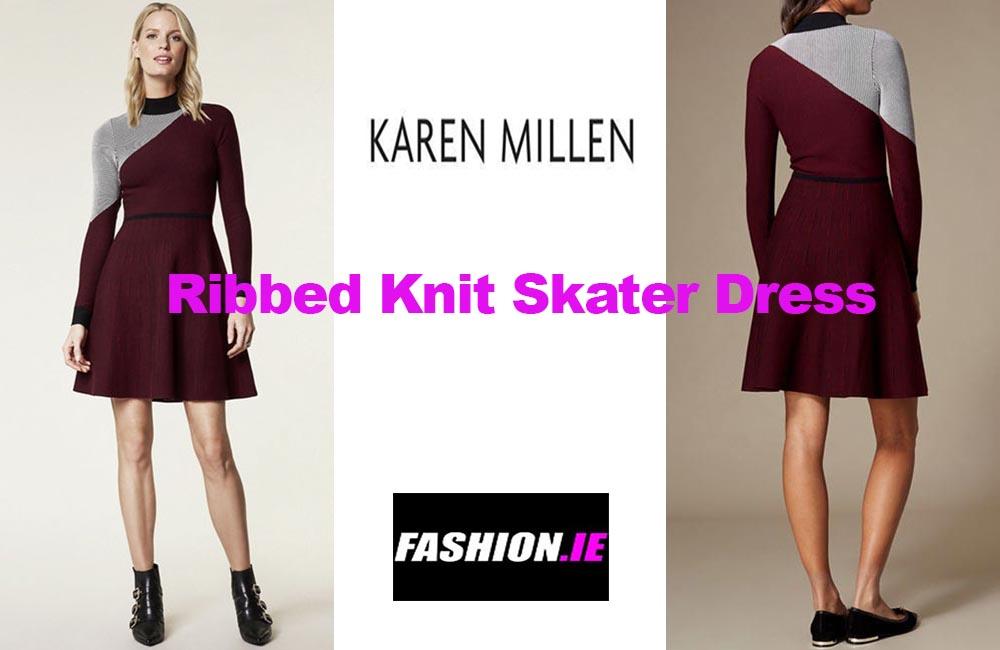 Latest fashion Ribbed knit skater dress from Karen Millen