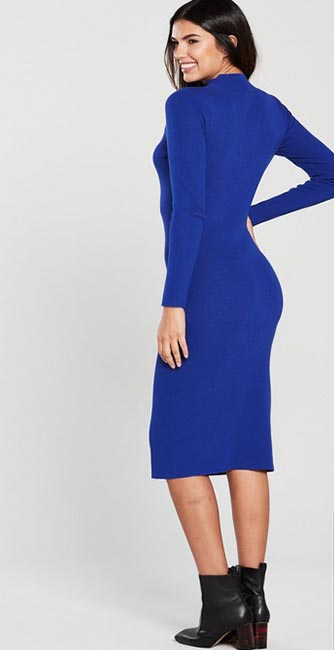 Rear View Cobalt Blue Turtleneck Cut Out Knitted Midi Dress from Very