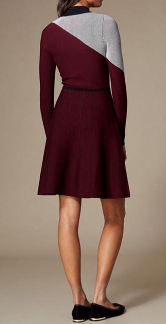 Rear View of this Ribbed knit skater dress from Karen Millen