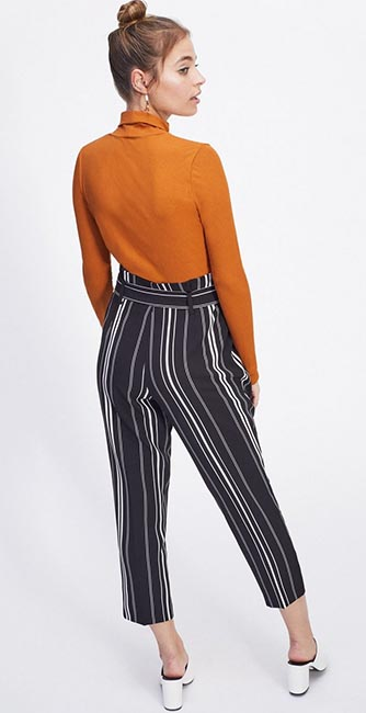 Rear view of these Mono Striped Paperbag Trousers from Miss Selfridge