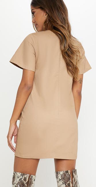 Rear view of this Camel utility pocket shift dress from PrettyLittleThing