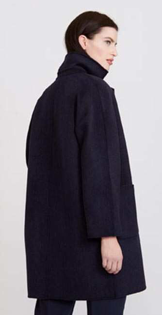 Rear view of this Paul Costelloe Living Studio Contrast Collar Coat from Dunnes Stores