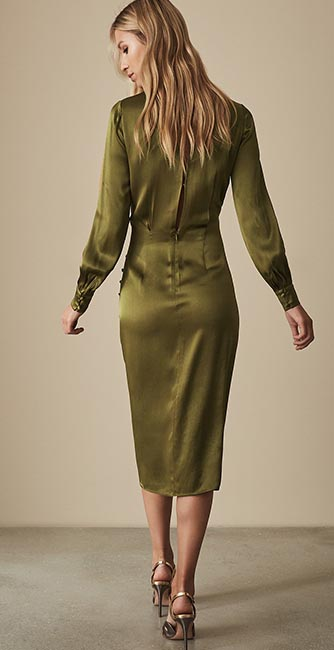 Rear view of this Renae Satin Wrap dress from Reiss