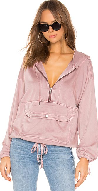Soft pink pocket hoodie from Revolve