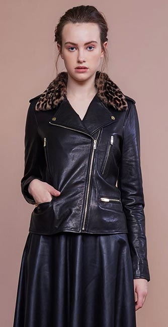 Black Leather Biker Jacket from Irish designer Umit Kutluk