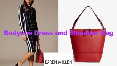 Bodycon dress and shoulder bag from Karen Millen