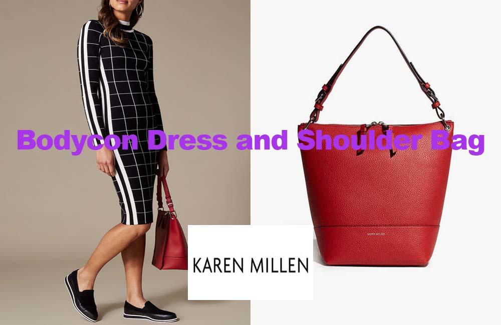 Bodycon dress and shoulder bag from Karen Millen