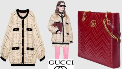 Bomber jacket and tote bag from Gucci