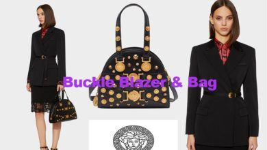 Buckle blazer and tribute bag from Versace