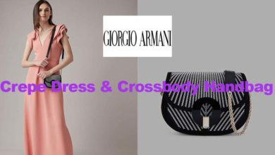 Crepe dress and handbag from Armani