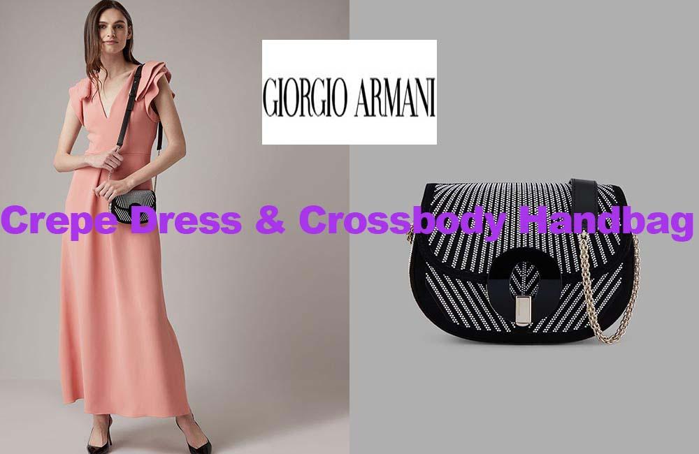 Crepe dress and handbag from Armani